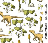 theropod dinosaur seamless...   Shutterstock .eps vector #1337363639
