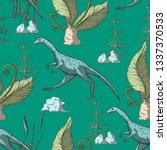 compsognathus dinosaur seamless ...   Shutterstock .eps vector #1337370533