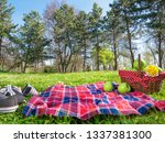 picnic background with basket... | Shutterstock . vector #1337381300