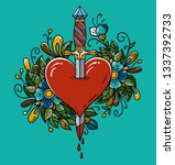 red heart decorated with... | Shutterstock . vector #1337392733