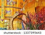 yellow gold bird  traditional... | Shutterstock . vector #1337395643