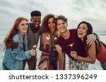 multiracial friends enjoying at ... | Shutterstock . vector #1337396249