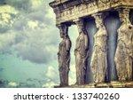 caryatids in erechtheum from... | Shutterstock . vector #133740260