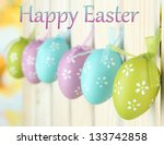 art easter background with eggs ... | Shutterstock . vector #133742858