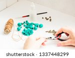 the hands of the girl with...   Shutterstock . vector #1337448299