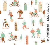 city with people on bicycles ... | Shutterstock .eps vector #1337466770