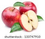 Red Apple With Apple Leaf And...