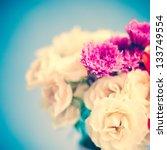 vintage roses on blue background   Shutterstock . vector #133749554