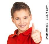 portrait of happy boy showing... | Shutterstock . vector #133751894