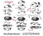 hand drawn black ink fast food... | Shutterstock .eps vector #1337529443