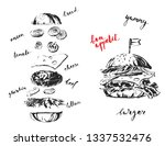 hand drawn black and white ink... | Shutterstock .eps vector #1337532476