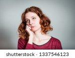 cute redhead girl is bored  not ... | Shutterstock . vector #1337546123