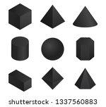 3d geometric shapes set . black ... | Shutterstock .eps vector #1337560883