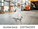 Anime Girl With Sword Poses On...