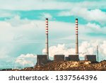 red and white chimney of power...   Shutterstock . vector #1337564396