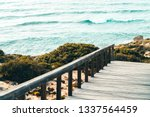 wooden stair leading to...   Shutterstock . vector #1337564459