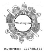 outline washington dc usa city... | Shutterstock .eps vector #1337581586