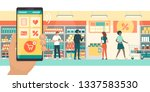 people doing grocery shopping... | Shutterstock .eps vector #1337583530