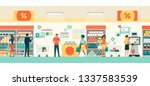 people doing grocery shopping... | Shutterstock .eps vector #1337583539