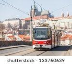Tram In Prague With Castle In...