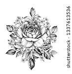 hand drawn bouquet with rose... | Shutterstock . vector #1337613536