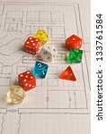 Role Play Dice on Game Map - stock photo