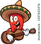 cartoon mexican red chili... | Shutterstock .eps vector #1337631476