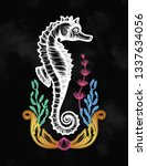hand drawn seahorse with sea... | Shutterstock .eps vector #1337634056