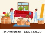 two women workers are carrying... | Shutterstock .eps vector #1337652620