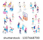 isometric icons set with male... | Shutterstock .eps vector #1337668700