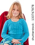 Young caucasian female child princess - stock photo