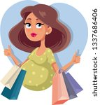 pregnant girl with shopping... | Shutterstock .eps vector #1337686406