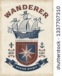 vintage nautical wanderer... | Shutterstock . vector #1337707310