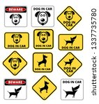 dog in car signs humorous comic ... | Shutterstock .eps vector #1337735780