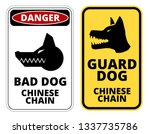 bad dog  chinese chain.... | Shutterstock .eps vector #1337735786