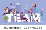 team giant letters and... | Shutterstock .eps vector #1337751386