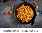 penne pasta in tomato sauce... | Shutterstock . vector #1337755913