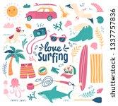 love surfing background. vector ... | Shutterstock .eps vector #1337757836