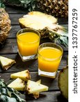 pineapple juice in a glass and...   Shutterstock . vector #1337767259