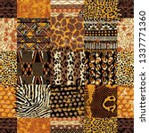 african fabric and wild animal... | Shutterstock .eps vector #1337771360
