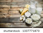 Variety of fresh dairy products....