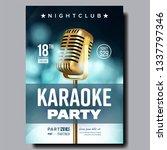 karaoke poster vector. retro... | Shutterstock .eps vector #1337797346