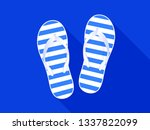 beach slippers sandals on blue...   Shutterstock .eps vector #1337822099