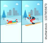 wintertime recreation  sled and ...   Shutterstock . vector #1337855873