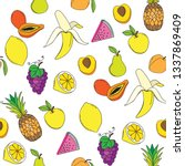 background with juicy fruits.... | Shutterstock .eps vector #1337869409