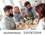 friends meeting.group of happy... | Shutterstock . vector #1337873249
