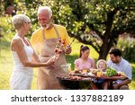 barbecue time.senior couple is... | Shutterstock . vector #1337882189