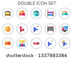 double icon set. 15 flat double ... | Shutterstock .eps vector #1337883386