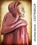 monk. an hand painting  ... | Shutterstock . vector #1337908529