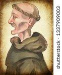 monk. an hand painting  ... | Shutterstock . vector #1337909003